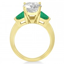 Emerald Three Stone Trilliant Engagement Ring 18k Yellow Gold (0.70ct)