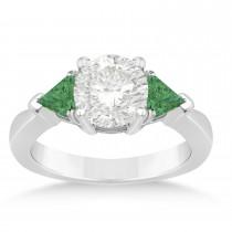 Emerald Three Stone Trilliant Engagement Ring Palladium (0.70ct)