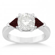 Garnet Three Stone Trilliant Engagement Ring 14k White Gold (0.70ct)