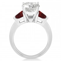Garnet Three Stone Trilliant Engagement Ring 14k White Gold (0.70ct)