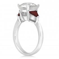 Garnet Three Stone Trilliant Engagement Ring 18k White Gold (0.70ct)