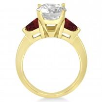Garnet Three Stone Trilliant Engagement Ring 18k Yellow Gold (0.70ct)