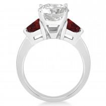 Garnet Three Stone Trilliant Engagement Ring Palladium (0.70ct)