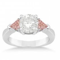 Morganite Three Stone Trilliant Engagement Ring 14k White Gold (0.70ct)