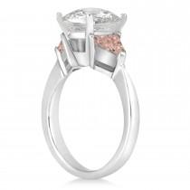 Morganite Three Stone Trilliant Engagement Ring 14k White Gold (0.70ct)