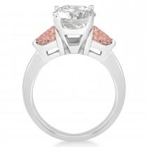 Morganite Three Stone Trilliant Engagement Ring 18k White Gold (0.70ct)