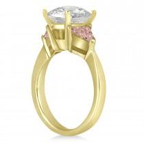 Morganite Three Stone Trilliant Engagement Ring 18k Yellow Gold (0.70ct)