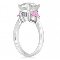 Pink Sapphire Three Stone Trilliant Engagement Ring 14k White Gold (0.70ct)