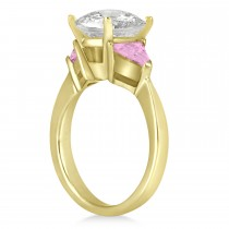 Pink Sapphire Three Stone Trilliant Engagement Ring 14k Yellow Gold (0.70ct)