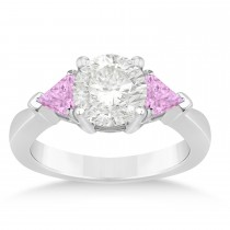 Pink Sapphire Three Stone Trilliant Engagement Ring 18k White Gold (0.70ct)