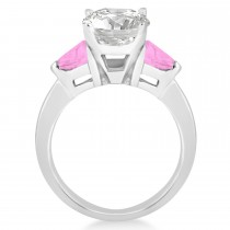 Pink Sapphire Three Stone Trilliant Engagement Ring Platinum (0.70ct)