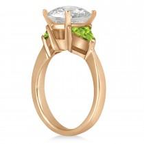 Peridot Three Stone Trilliant Engagement Ring 14k Rose Gold (0.70ct)
