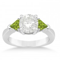Peridot Three Stone Trilliant Engagement Ring 18k White Gold (0.70ct)