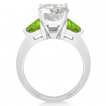 Peridot Three Stone Trilliant Engagement Ring 18k White Gold (0.70ct)