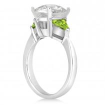 Peridot Three Stone Trilliant Engagement Ring Platinum (0.70ct)