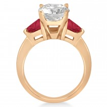 Ruby Three Stone Trilliant Engagement Ring 14k Rose Gold (0.70ct)
