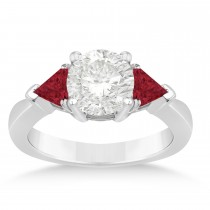Ruby Three Stone Trilliant Engagement Ring 14k White Gold (0.70ct)