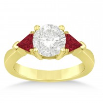 Ruby Three Stone Trilliant Engagement Ring 14k Yellow Gold (0.70ct)
