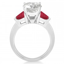 Ruby Three Stone Trilliant Engagement Ring 18k White Gold (0.70ct)