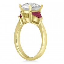 Ruby Three Stone Trilliant Engagement Ring 18k Yellow Gold (0.70ct)