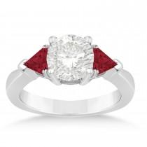 Ruby Three Stone Trilliant Engagement Ring Platinum (0.70ct)