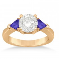 Tanzanite Three Stone Trilliant Engagement Ring 14k Rose Gold (0.70ct)