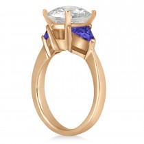 Tanzanite Three Stone Trilliant Engagement Ring 14k Rose Gold (0.70ct)