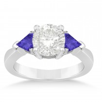 Tanzanite Three Stone Trilliant Engagement Ring 14k White Gold (0.70ct)
