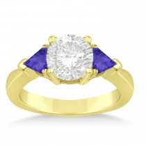 Tanzanite Three Stone Trilliant Engagement Ring 14k Yellow Gold (0.70ct)
