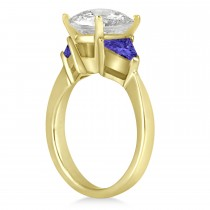 Tanzanite Three Stone Trilliant Engagement Ring 14k Yellow Gold (0.70ct)