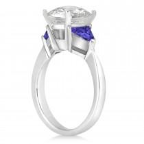 Tanzanite Three Stone Trilliant Engagement Ring Platinum (0.70ct)