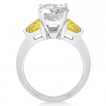 Yellow Diamond Three Stone Trilliant Engagement Ring 14k White Gold (0.70ct)