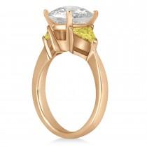 Yellow Diamond Three Stone Trilliant Engagement Ring 18k Rose Gold (0.70ct)