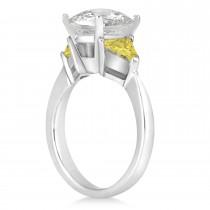 Yellow Diamond Three Stone Trilliant Engagement Ring 18k White Gold (0.70ct)