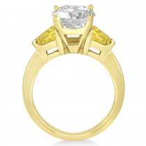 Yellow Diamond Three Stone Trilliant Engagement Ring 18k Yellow Gold (0.70ct)