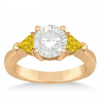 Yellow Sapphire Three Stone Trilliant Engagement Ring 14k Rose Gold (0.70ct)