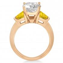 Yellow Sapphire Three Stone Trilliant Engagement Ring 14k Rose Gold (0.70ct)