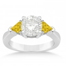 Yellow Sapphire Three Stone Trilliant Engagement Ring 14k White Gold (0.70ct)