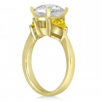 Yellow Sapphire Three Stone Trilliant Engagement Ring 14k Yellow Gold (0.70ct)