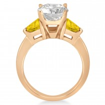 Yellow Sapphire Three Stone Trilliant Engagement Ring 18k Rose Gold (0.70ct)