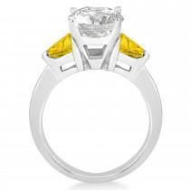 Yellow Sapphire Three Stone Trilliant Engagement Ring Platinum (0.70ct)