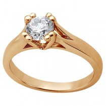 Double Prong Trellis Engagement Ring Setting in 14k Rose Gold