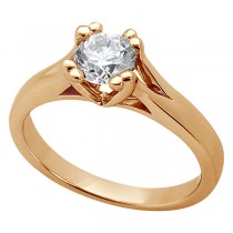 Double Prong Trellis Engagement Ring Setting in 18k Rose Gold