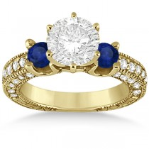Blue Sapphire & Diamond 3-Stone Engagement Ring 14k Yellow Gold 1.06ct