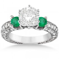 Three-Stone Emerald & Diamond Engagement Ring 14k White Gold 0.94ct