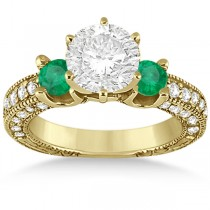 Three-Stone Emerald & Diamond Engagement Ring 14k Yellow Gold 0.94ct