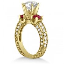 Three-Stone Ruby & Diamond Engagement Ring 14k Yellow Gold 1.13ct