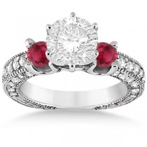 Three-Stone Ruby & Diamond Engagement Ring Palladium 1.13ct