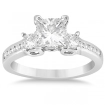 Round & Princess Cut 3 Stone Diamond Engagement Ring 18k W. Gold 0.50ct