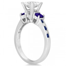 Blue Sapphire Three Stone Engagement Ring in 14k White Gold (0.62ct)